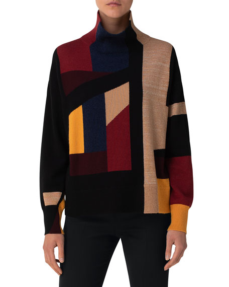 Image 3 of 3: Akris Block Jacquard Ribbed Turtleneck Sweater