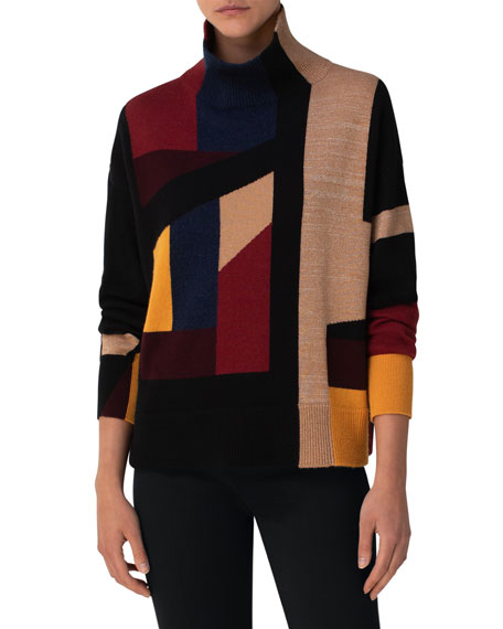 Image 1 of 3: Akris Block Jacquard Ribbed Turtleneck Sweater