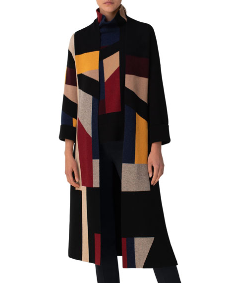 Image 3 of 3: Akris Geometric Block Jacquard Belted Cardigan