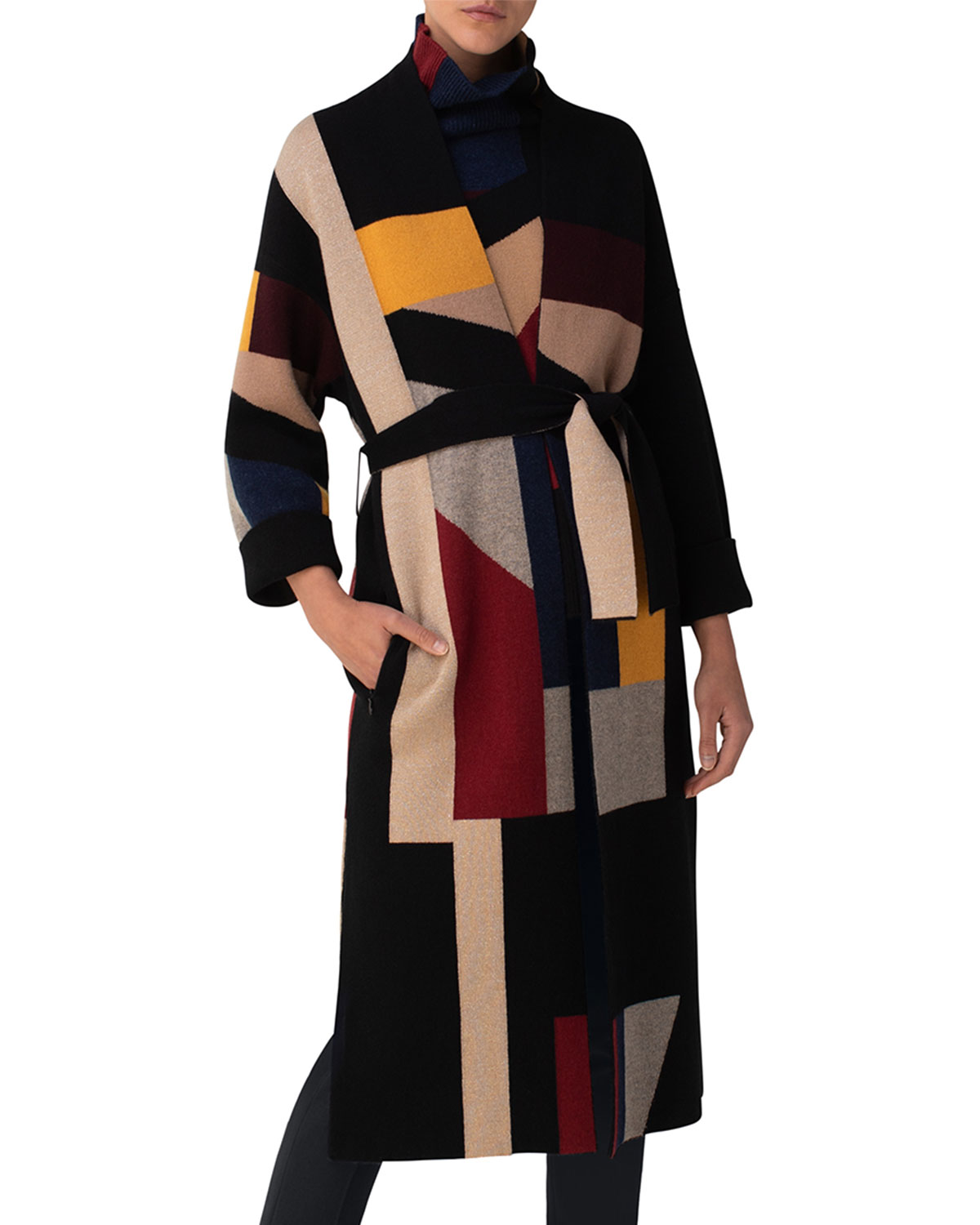 Akris Geometric Block Jacquard Belted Cardigan