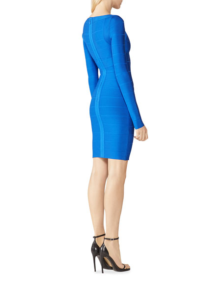 Image 2 of 2: Herve Leger Icon Cross-Bust Long-Sleeve Bandage Dress