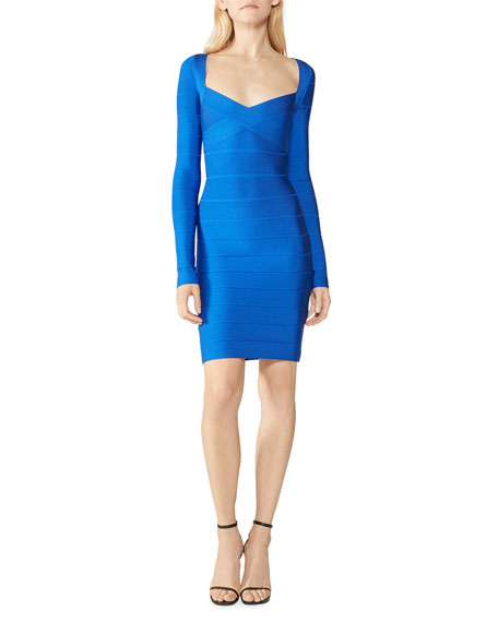 Image 1 of 2: Herve Leger Icon Cross-Bust Long-Sleeve Bandage Dress
