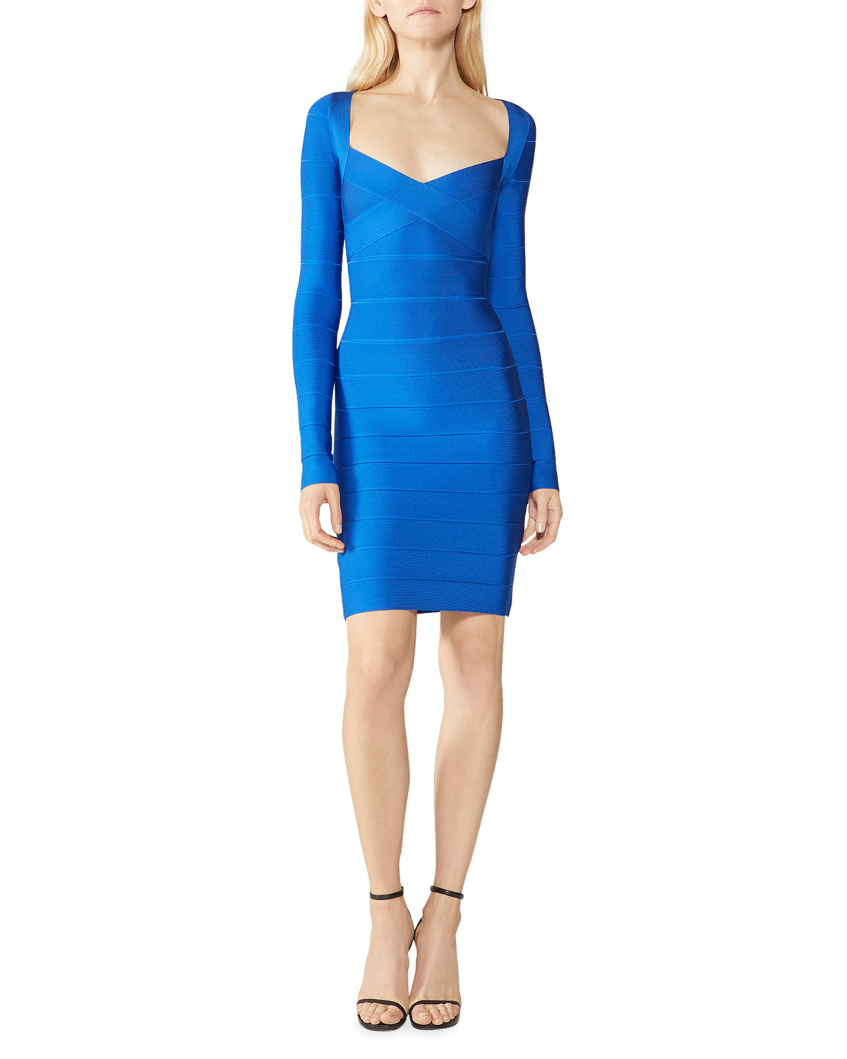 Herve Leger Icon Cross-Bust Long-Sleeve Bandage Dress