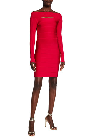 Herve Leger Off-the-Shoulder Cutout Ribbed Cocktail Dress $1090.00