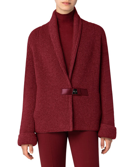 Image 3 of 3: Akris Chunky Shawl-Collar Cardigan with Leather Closure