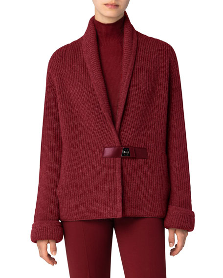 Image 1 of 3: Akris Chunky Shawl-Collar Cardigan with Leather Closure