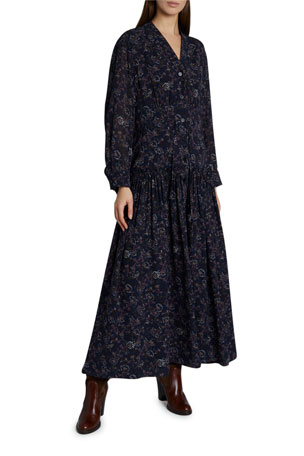 Chloe Floral Print Silk Maxi Dress