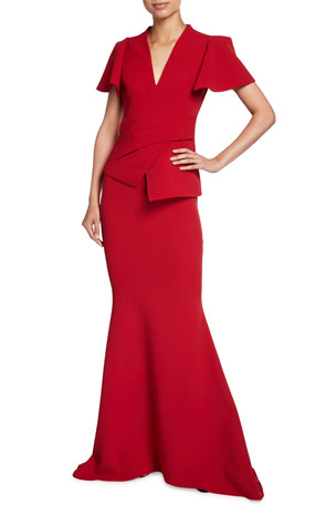 Safiyaa Heavy Crepe V-Neck Gown