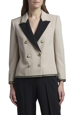 Giorgio Armani Contrast Lapel Short Jacket