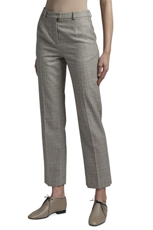 Giorgio Armani Tweed Mini Plaid Classic Slim-Leg Pants