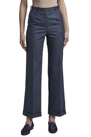 Giorgio Armani Melange Flannel Cuffed Pants