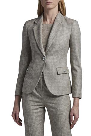 Giorgio Armani Tweed Mini Plaid One-Button Jacket
