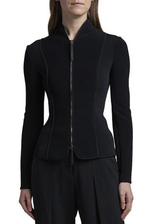 Giorgio Armani Ottoman Jersey Zip-Front Jacket