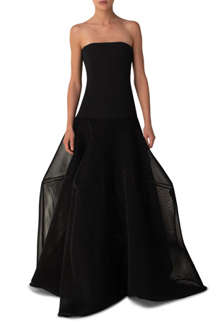 Akris Structured Mesh Strapless Long Gown