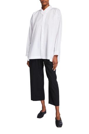 Eskandar Collared A-Line Cotton Button-Down Shirt
