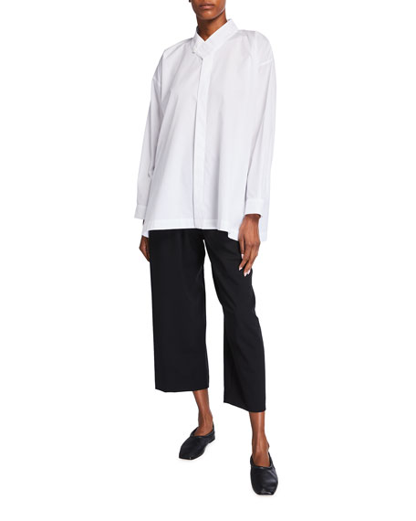 Image 1 of 3: Eskandar Collared A-Line Cotton Button-Down Shirt