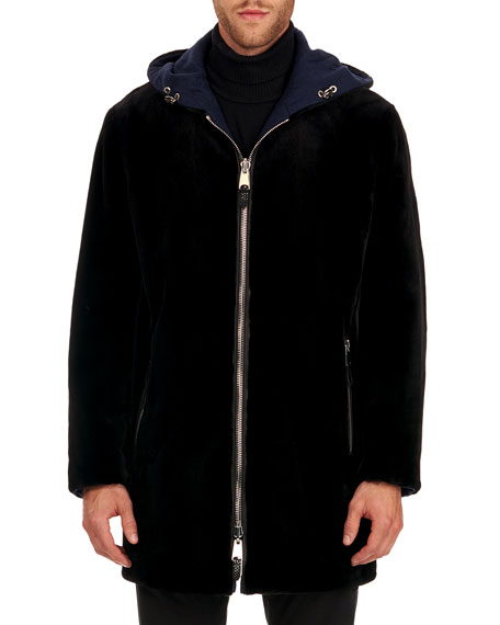 Image 4 of 4: Gorski Men's Reversible Sheared Mink & Wool Parka Coat