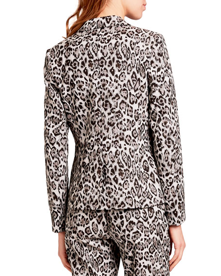 Image 2 of 2: Erdem Iris Single-Breasted Leopard-Print Blazer