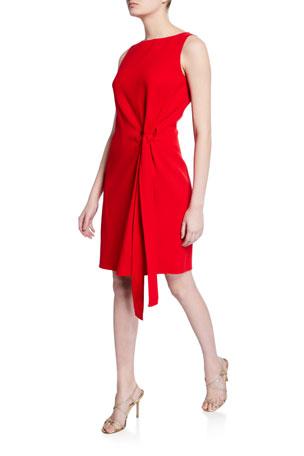 Oscar de la Renta Tie-Front Boat-Neck Dress