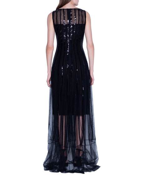 Image 2 of 2: Akris Sequined Gown with Sheer Skirt