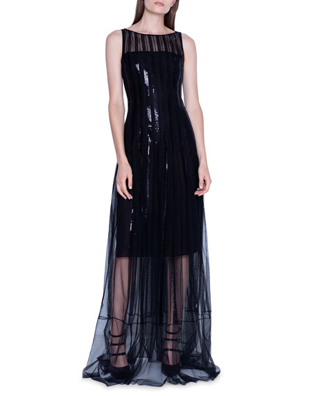 Image 1 of 2: Akris Sequined Gown with Sheer Skirt