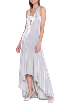 Akris Metallic High-Low Hem Gown