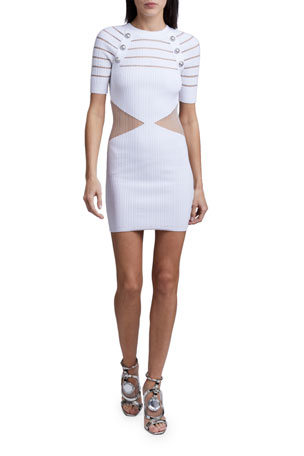 Balmain Transparent Pleated Dress