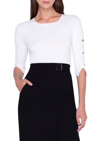 Akris 1/2-Sleeve Fitted Sweater