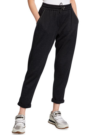 Brunello Cucinelli Cotton-Silk Sweatpants with Monili Trim