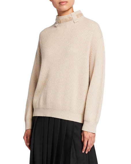 Image 2 of 3: Brunello Cucinelli Belt Loop Monili Mock-Neck Cashmere Sweater