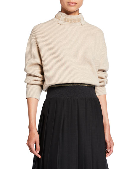 Image 1 of 3: Brunello Cucinelli Belt Loop Monili Mock-Neck Cashmere Sweater