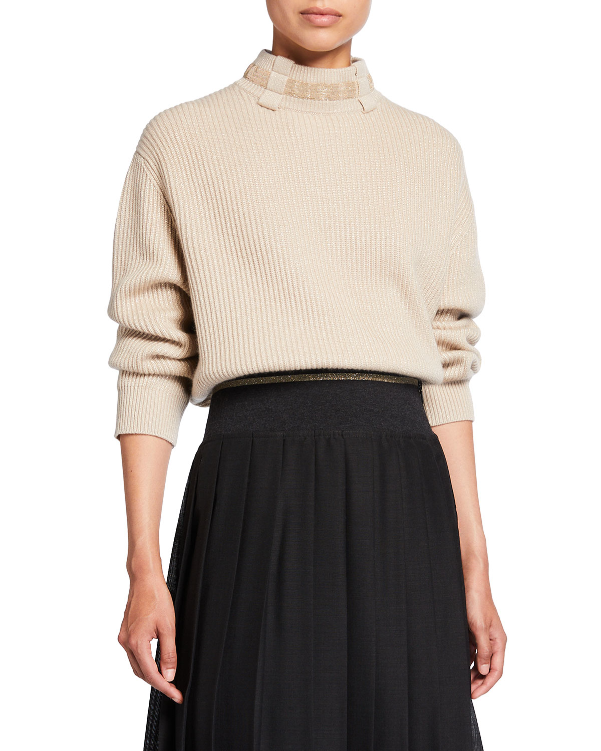 Brunello Cucinelli Belt Loop Monili Mock-Neck Cashmere Sweater