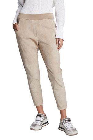 Brunello Cucinelli Cotton-Felpa Jogger Pants w/ Zip Cuffs