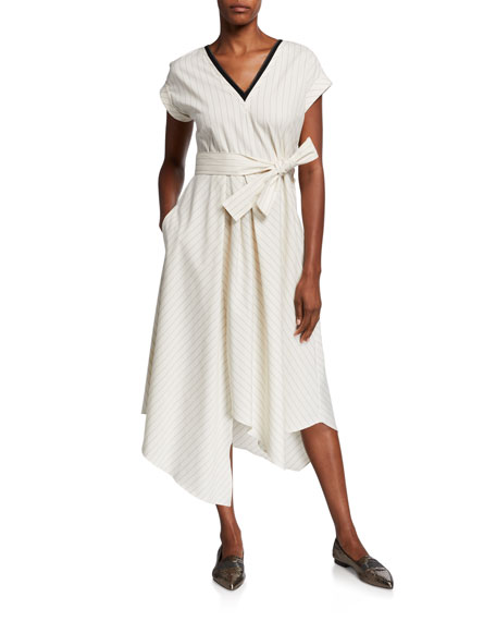 Image 2 of 3: Brunello Cucinelli Striped Cap-Sleeve Dress