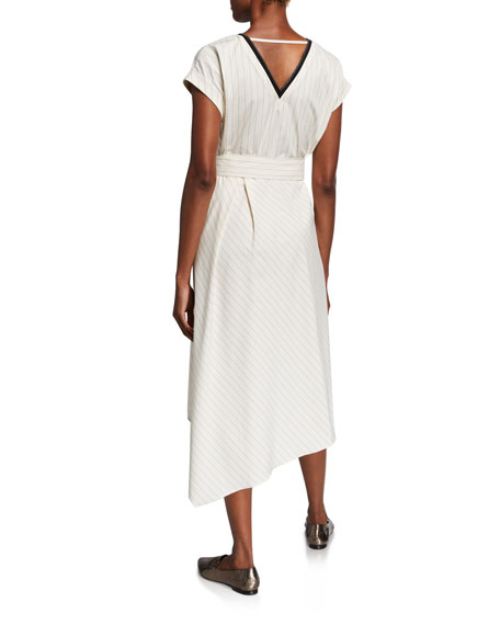 Image 3 of 3: Brunello Cucinelli Striped Cap-Sleeve Dress