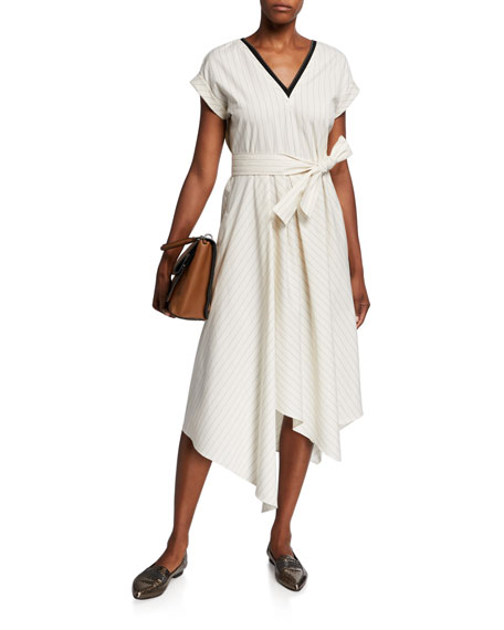 Image 1 of 3: Brunello Cucinelli Striped Cap-Sleeve Dress