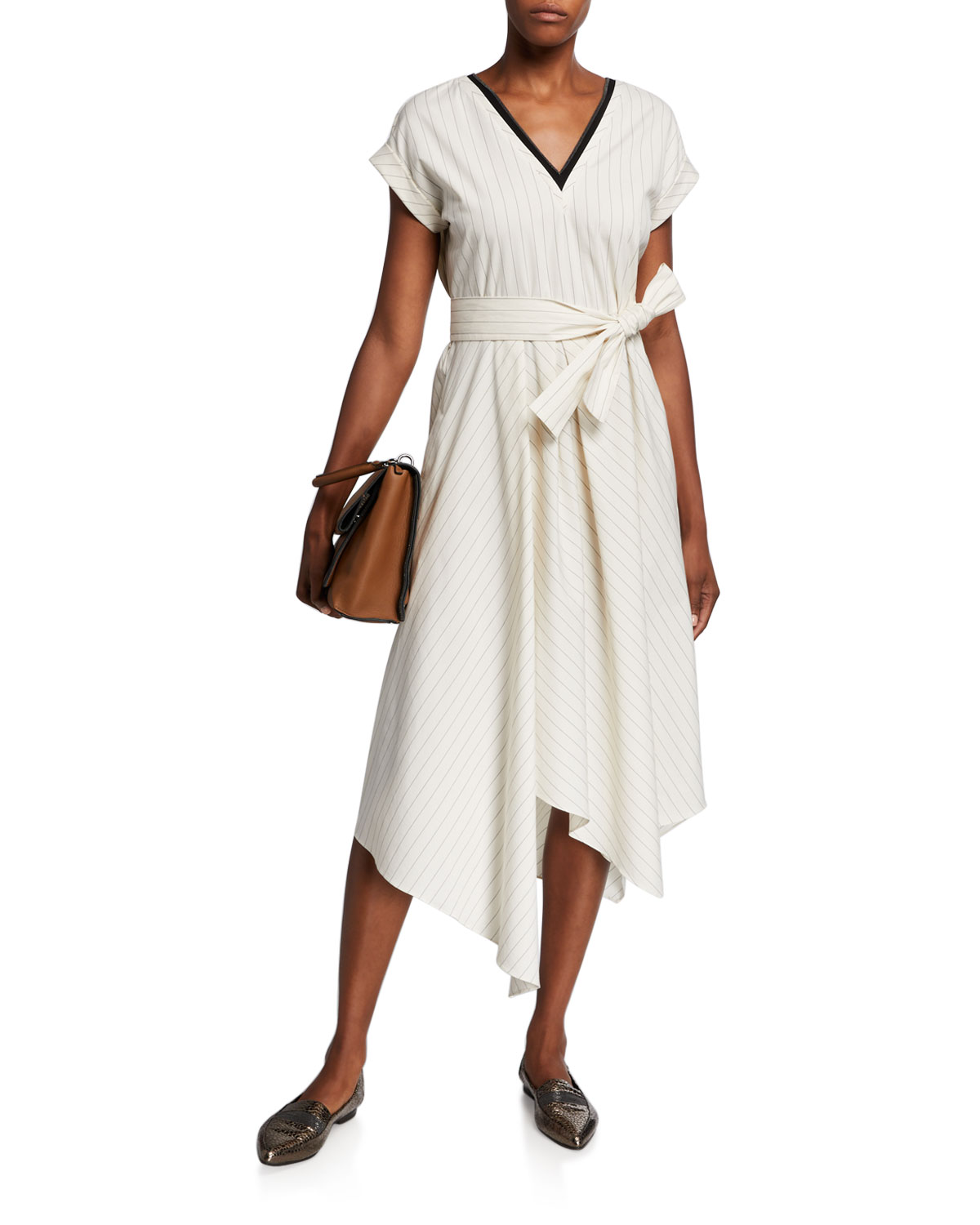 Brunello Cucinelli Striped Cap-Sleeve Dress