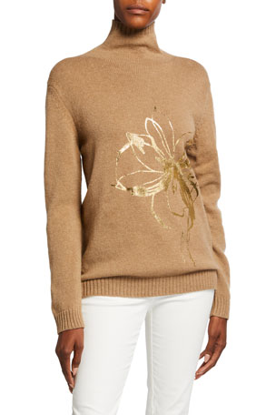 Piazza Sempione Turtleneck Floral Embossed Wool Sweater