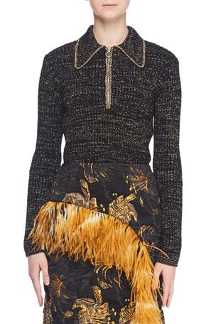Dries Van Noten Zip-Collar Long-Sleeve Metallic-Knit Sweater