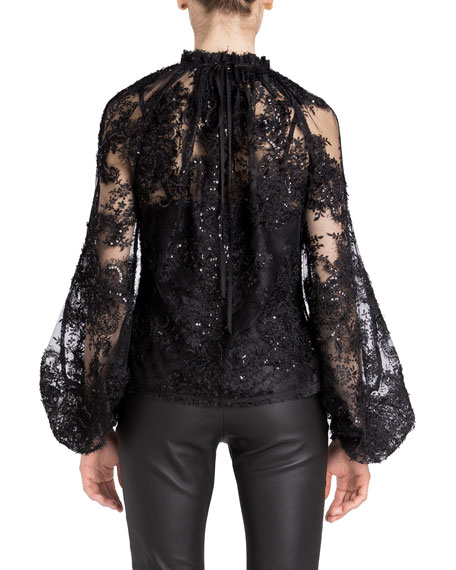 Image 2 of 2: UNTTLD Billowing Sleeve Lace Top