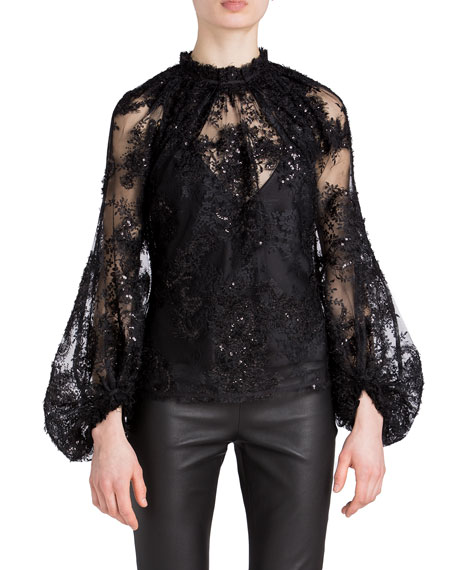 Image 1 of 2: UNTTLD Billowing Sleeve Lace Top