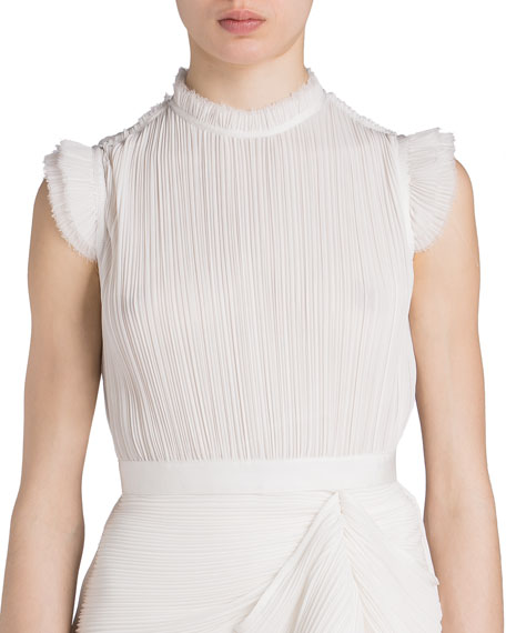 Image 1 of 2: UNTTLD Pleated Draped-Front Sleeveless Blouse