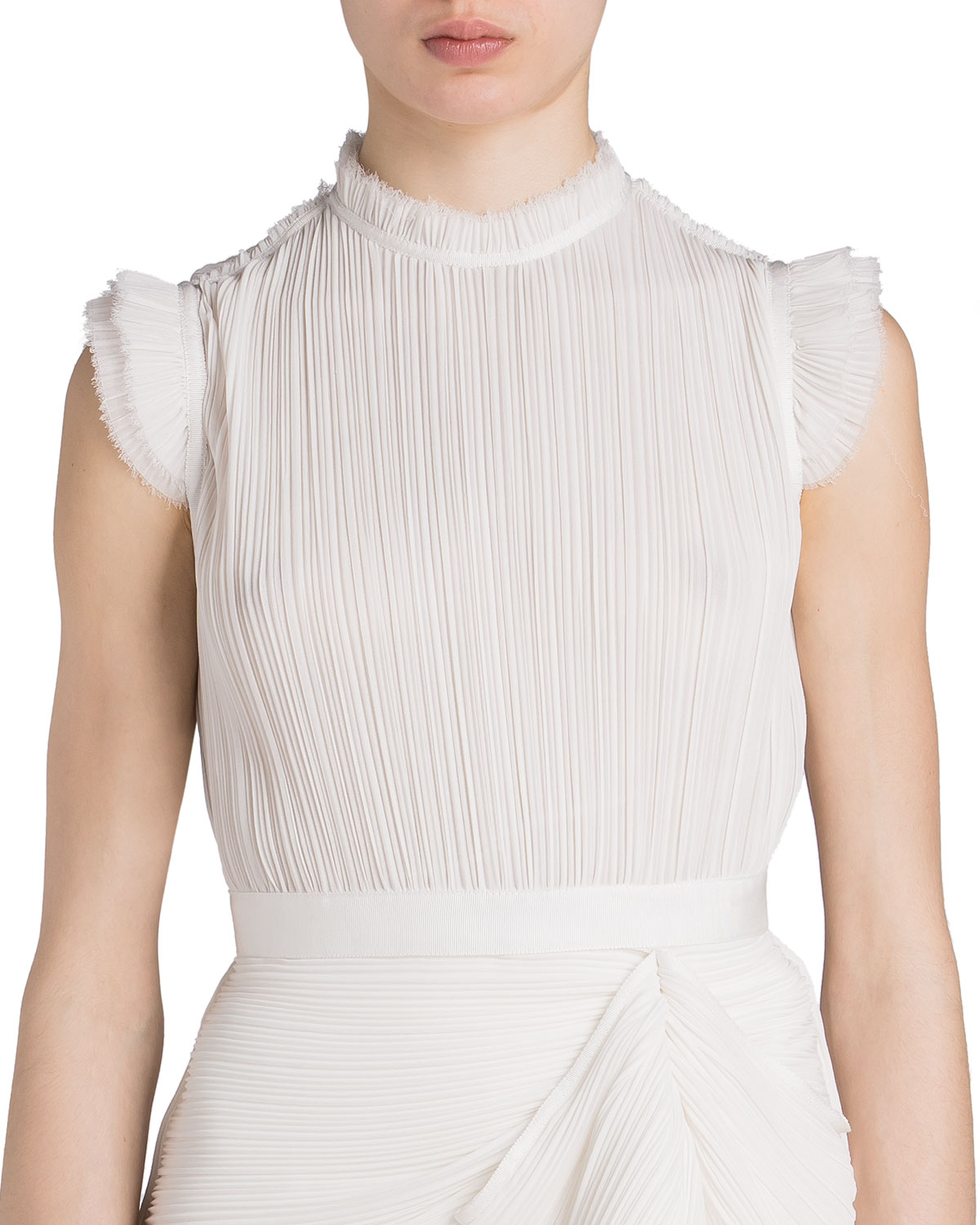 UNTTLD Pleated Draped-Front Sleeveless Blouse