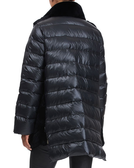 Image 2 of 4: Gorski Chevron Rex Rabbit Stroller Coat with Quilted Back & Sleeves