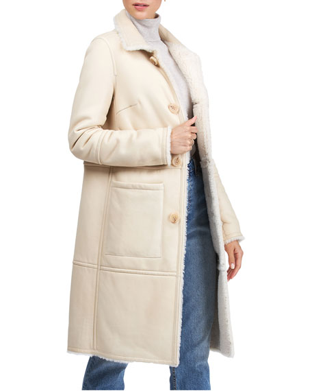 Image 3 of 4: Yves Solomon Short Shearling Lamb Coat