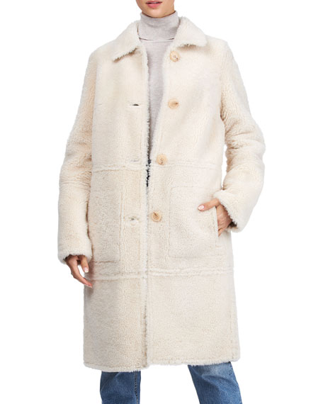 Image 4 of 4: Yves Solomon Short Shearling Lamb Coat
