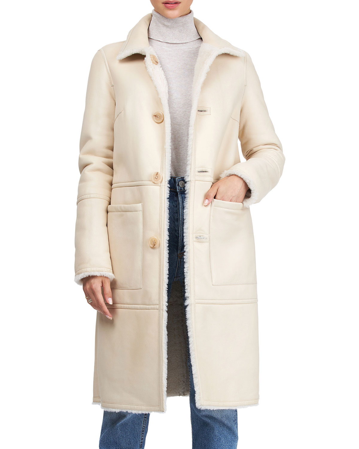 Yves Solomon Short Shearling Lamb Coat