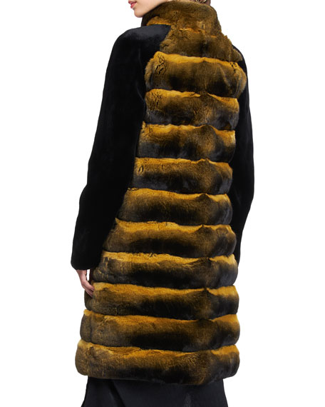 Image 2 of 4: Pajaro Chinchilla Stroller Coat With Sheared Mink Sleeves