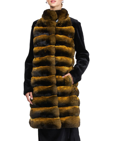 Image 1 of 4: Pajaro Chinchilla Stroller Coat With Sheared Mink Sleeves
