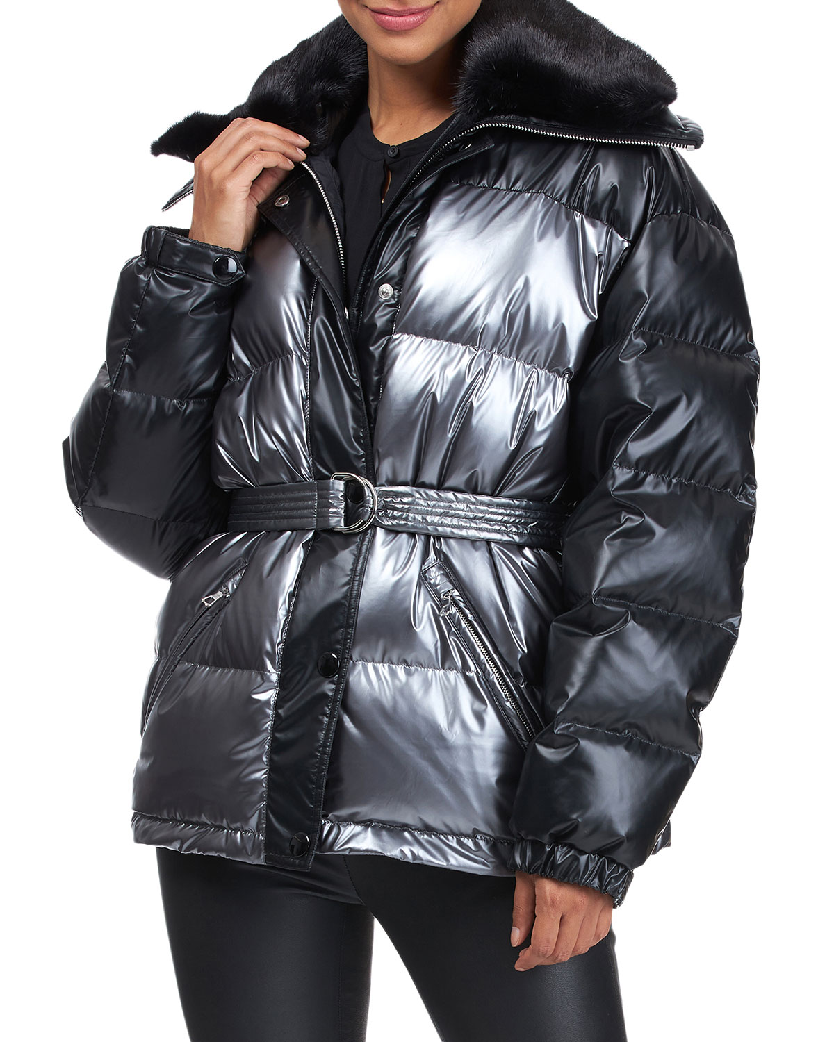 Yves Solomon Down Jacket With Mink Fur Collar